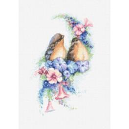 Zestaw z nadrukiem i muliną - Romantyczne ptaszki