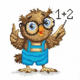 Zestaw z nadrukiem i muliną - Mała sówka - matematyczka