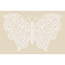 Zestaw z nadrukiem i muliną - Zimowy motyl