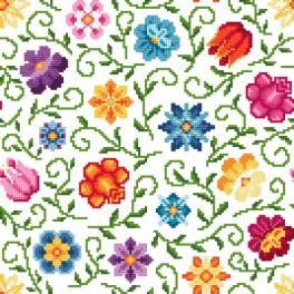 Zestaw z nadrukiem i muliną - Drobne kwiatki