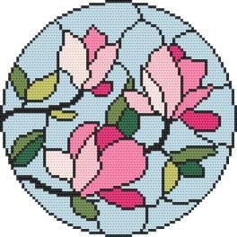 Zestaw z nadrukiem i muliną - Witraż - Magnolia