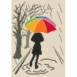ZN 8611 Zestaw z nadrukiem i muliną - Kolorowa parasolka - Spacer
