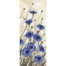 Zestaw z nadrukiem i muliną - Kwiaty chabru