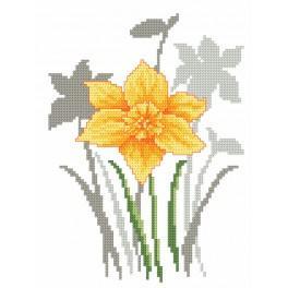Zestaw z nadrukiem i muliną - Wiosenne kwiaty – Żonkile