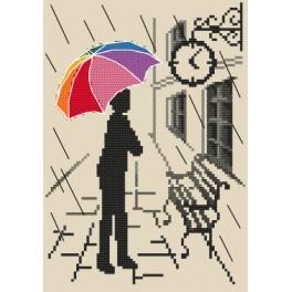 Zestaw z nadrukiem i muliną - Kolorowa parasolka – W oczekiwaniu