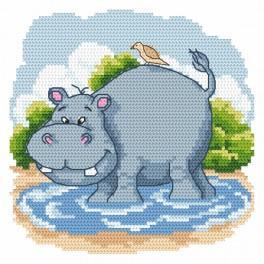 Zestaw z nadrukiem i muliną - Zabawny hipopotam
