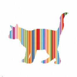 Zestaw z nadrukiem i muliną - Tęczowy kot