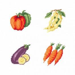 Zestaw z nadrukiem i muliną - Na straganie - Warzywa