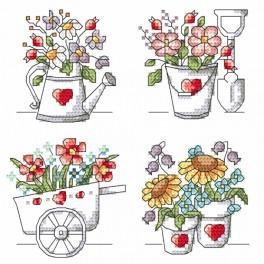 Zestaw z nadrukiem i muliną - Kwiaty z ogródka