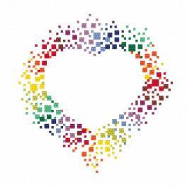 Zestaw z nadrukiem i muliną - Barwne serce