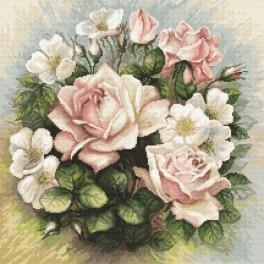 Zestaw z nadrukiem i muliną - Pastelowe róże