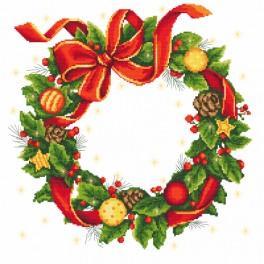 Zestaw z muliną i obrusem - Obrus - wieniec świąteczny