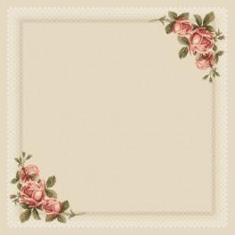 Zestaw z muliną i obrusem - Obrus z koronką i różami
