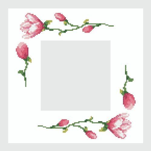 Zestaw z muliną i serwetką - Serwetka z magnoliami