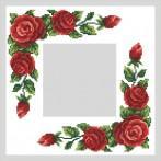 Zestaw z muliną i serwetką - Serwetka z czerwonymi różami