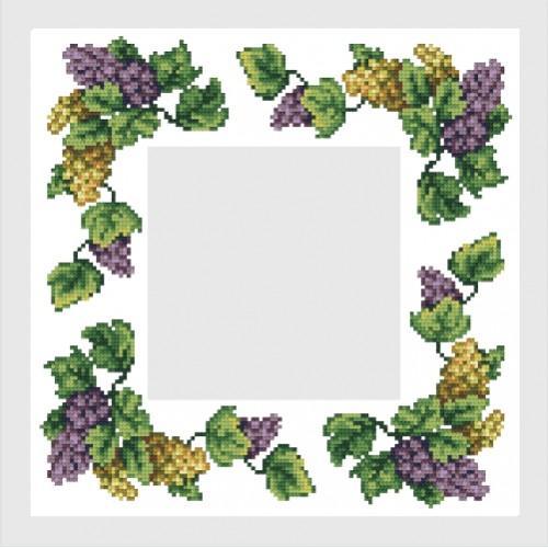 Zestaw z muliną i serwetką - Serwetka z winogronami