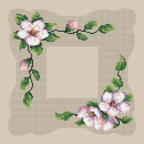 Zestaw z muliną i serwetką - Serwetka z kwitnącą wiśnią