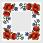 Zestaw z muliną i serwetką - Serwetka z polnymi kwiatami