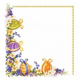 ZU 8352 Zestaw z muliną i serwetką - Pisanki z wiosennymi kwiatami