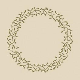 Zestaw z muliną i serwetką - Serwetka z jemiołą