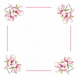 zestaw z muliną i serwetką - Serwetka z magnolią