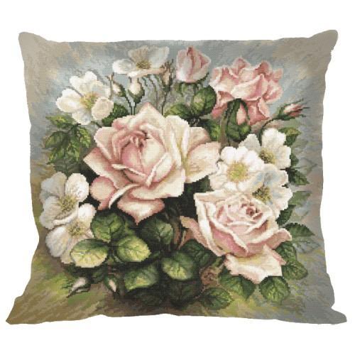 Wszystkie nowe Wzór graficzny - Poduszka - Pastelowe róże - Haft krzyżykowy JH19