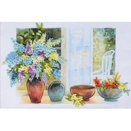 Zestaw wstążeczkowy - Kwiaty w wazonie
