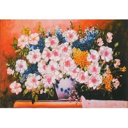 Zestaw wstążeczkowy - Bukiet kwiatów – dzika róża z bzem