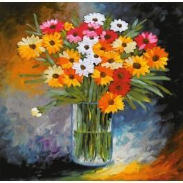 Zestaw wstążeczkowy - Bukiet kwiatów – kolorowe margaretki