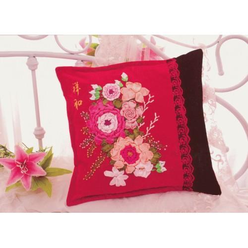 Zestaw wstążeczkowy - Poduszka - bukiet kwiatów