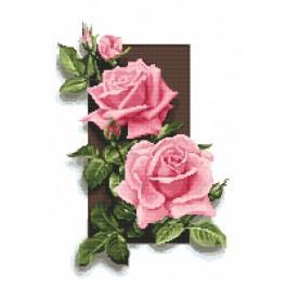 K 10087 Kanwa z nadrukiem - Róże 3D