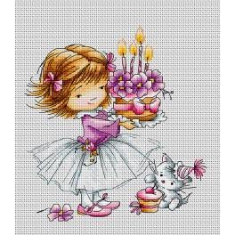 Zestaw z muliną - Dziewczynka z kotkiem i tortem