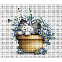 Zestaw z muliną - Kotek w kwiatach