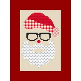 Zestaw z muliną - Kartka świąteczna - Mikołaj