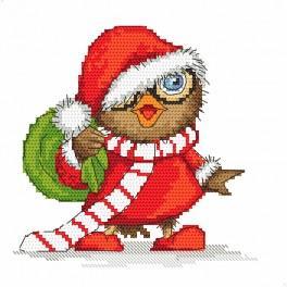 Zestaw z nadrukiem i muliną - Świąteczna sówka