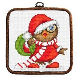Zestaw nadrukiem, muliną i ramką - Świąteczna sówka