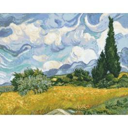 W 8884 Wzór graficzny ONLINE pdf - Pole pszenicy z cyprysami - V. van Gogh