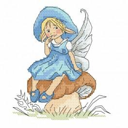 Wzór graficzny online - Mała elficzka na grzybku