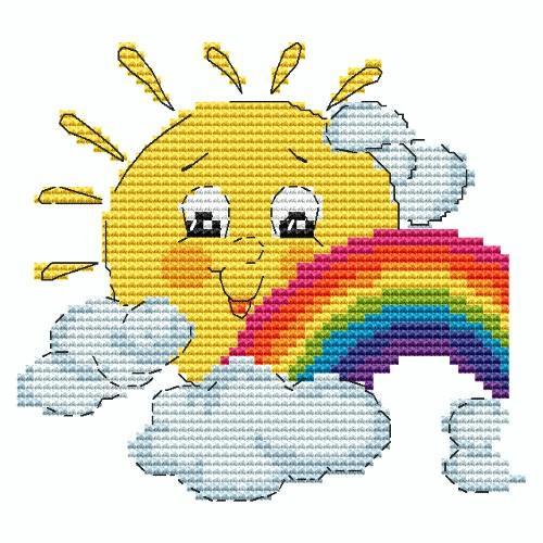 Wzór graficzny online - Słoneczko z tęczą