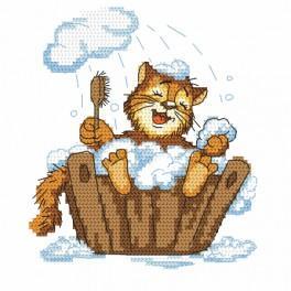 Wzór graficzny online - Kotek w kąpieli