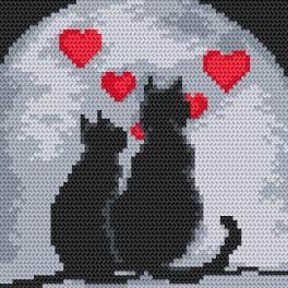 Kanwa z nadrukiem - Zakochane koty