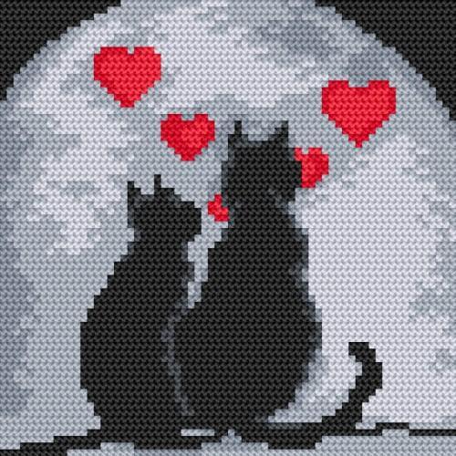 Zestaw z nadrukiem i muliną - Zakochane koty