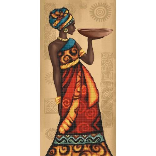 Zestaw z nadrukiem, muliną i podmalowanym tłem - Afrykański wdzięk