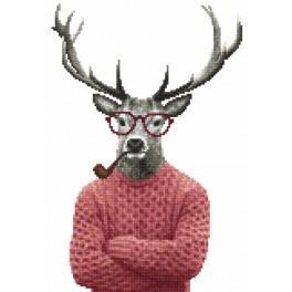 Kanwa z nadrukiem - Hipsterski jeleń