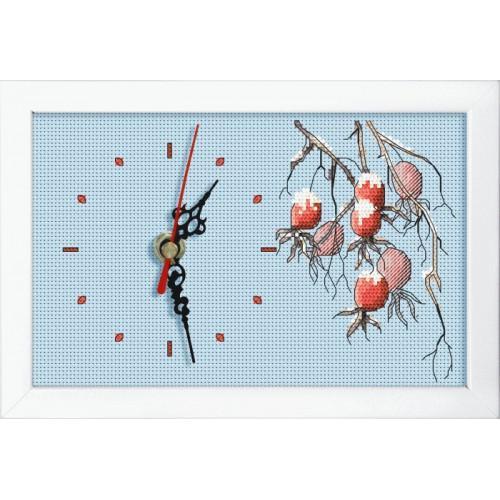 Zestaw z muliną, koralikami, zegarem i ramką - Zegar z gałązką dzikiej róży