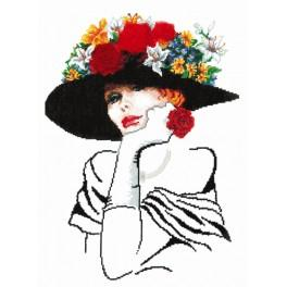 Zestaw z muliną, koralikami i wstążką - Urocza dama