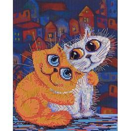 Zestaw z muliną i podmalowanym tłem - Kocia miłość