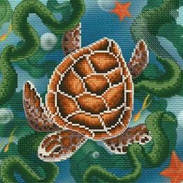 Zestaw z muliną i podmalowanym tłem - Żółw