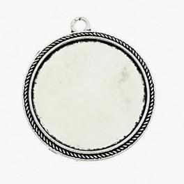 Baza medalionu okrągła kolor srebrny 30mm