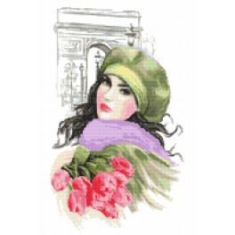 Zestaw z nadrukiem i muliną - Dziewczyna z tulipanami